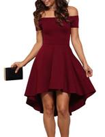 Wholesale Dovetail Dresses - New Style Dresses Europe & America Slash Neck Sexy Dress Mini Asymmetrical Dovetail Dress High Quality Party Women Clothes