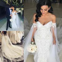Wholesale train shawl wedding dress - Romantic Plus Size Mermaid Wedding Dresses 2017 With Shawl Robe de mariee Sleeveless Applique Beading Pearls Court Train Bridal Gowns