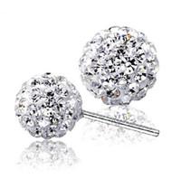 Wholesale 925 Silver 12 Mm - 925 sterling silver Stud Shambhala earrings jewelry charm simple 6 8 10 12 mm ball earrings