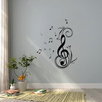 Wholesale Dancing Sticker - Free Shipping Dancing Music Note Wall sticker waterproof and removable vinyl for home decoration Wall Art
