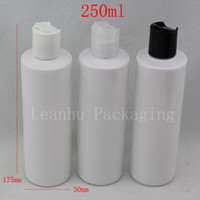 Wholesale Shampoo Bottle Lids - 250ML X 20 Empty White Plastic Cosmetics Lotion Bottle With Disc Screw Lid 250cc Shampoo PET Containers , Cosmetic Packaging