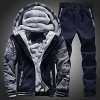 Wholesale Cool Hooded Sweatshirts - Winter men sweat suits fleece warm mens tracksuit set casual jogger suits sports suit cool jacket pants and sweatshirt set