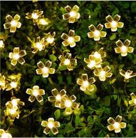 flor solar decorativa venda por atacado-Lâmpadas solares 50 LEDs Flor Flor Luzes Decorativas À Prova D 'Água branca de fadas Jardim Ao Ar Livre Do Natal solar levou luz