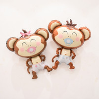 Wholesale Inflatable Monkeys - Large cute monkey with the pacifier foil balloon inflatable delicate balloon baby shower birthday decoration kid's toys