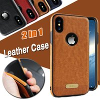 Wholesale Hybrid Leather Case Iphone - For iPhone X Cases 2 in 1 Hybrid Luxury Silicone Business Shockproof Cover Case Plastic Frame For iPhone X 8 7 plus 6 6S Samsung S8 S7 Edge