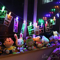 Wholesale Peg Lamp - Wholesale- 2M 20 Led 4M 40 Led USB Operated Photo Peg Clip Fairy Light Home Garden Christmas Wedding Party Decor Card Picture Hanging Lamp