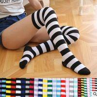 Wholesale Korea Sweet Girls - Striped Knee High Socks for Girls Kids Adult Cute Korea Zebra Thigh High Socks Sweet Spring Summer Stockings