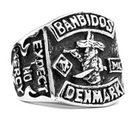 Wholesale Denmark Silver - 316 stainless steel fashion DENMARK BANDIDOS ring new band party cool mens ring silver ring size 7~13