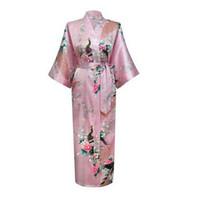 kimono japonés lenceria sexy al por mayor-Venta al por mayor- 2017 sexy flor japonesa vestido de kimono vestido lencería bata de baño túnica larga ropa de dormir sauna traje más tamaño