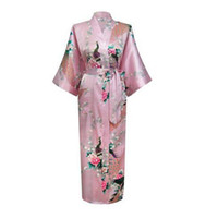 Wholesale Batik Dress Plus Size - Wholesale- 2017 Sexy Japanese Flower Kimono Dress Gown Lingerie Bathrobe Long Robes Sleepwear Sauna Costume Plus Size