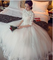 online shopping Ball Gowns - 2017 New Ball Gown chinese style in cheongsam Neck Wedding Dresses Sweep Train Appliques Lace Up Vintage Garden Country Wedding Bridal Gowns