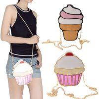 Wholesale designer cream handbag resale online - Funny Ice Small Cake Party Cute Bag Bags Women Purse Crossbody For Handbags Cream Messenger Bag Chain Kuheu