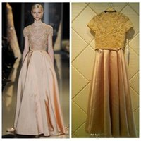 Wholesale Real Saab Dress - 2016 Elie Saab Evening Dresses A-Line Short Sleeves Lace Applique Beaded Special Occasion Party Prom Gowns Custom Real Image