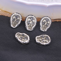 Wholesale Skull Connector Beads - 10pcs Hematite Stone Spacer Beads, Crystal Rhinestone Paved Skull Gemstone Druzy Connector Beads For Jewelry Making