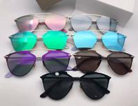 gafas de sol reflejadas al por mayor-Nuevas gafas de sol gafas de sol reflejados Gafas de sol de gafas de sol maneras elipse oculos película caja de las gafas de sol mujeres de los hombres gafas de sol de color con la caja