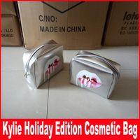 Wholesale High Fashion Make Up - Kylie Jenner Make Up Bag Holiday Edition Makeup Bag Kylie Lip Kit Cosmetics Bag High Quality Free Shipping