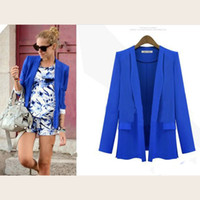 Wholesale Cheapest Long Coats Women - Cheapest Coats New European Long-Sleeved Slim Small Suit Coat Blue