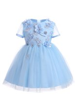 Wholesale Chiffon Shirts For Kids - 2017 Flower Girls' Dresses for Weddings Pageant Kids' Dress Ball Gown Applique First Communion Birthday Knee Length Christening