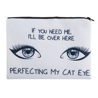 Wholesale Cat Rivet Bag - 2017 Fashion Square Makeup bag Lady Cosmetic case Cat Eye Pencil Bags Handbags zipper pouch canvas Small organizer toiletry For Women
