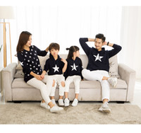 Wholesale Mother Son Fashion Clothes - Family clothes Mother and daughter and father and son five-pointed stars hooded medium long sweater 2017 spring autumn family clothes C0417
