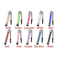 Wholesale I Touch Tablets - Crystal Capacitive Stylus Touch Screen Pen With Sling For I phone Samsung Tablet Free Shipping