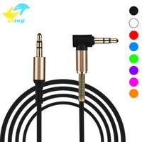 cable correcto al por mayor-3.28 pies universal / 1m 3,5 mm Cable de audio macho a macho de 90 grados de ángulo recto del cable aux para la computadora del altavoz del MP3 del teléfono