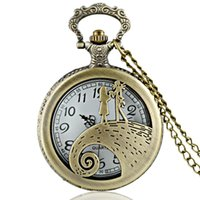 Wholesale necklace fobs - Wholesale-New Arrivals Antique Bronze Hollow Nightmare Before Christmas Pocket Watch Necklace Men Fob Quartz Watch Gift