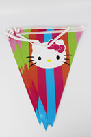 Wholesale Theme Kitty - Wholesale- 12flags Cartoon Pattern Hello Kitty Theme Party Birthday Party Decoration Banner For Children kids Party Supplies