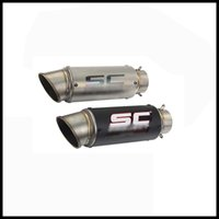 Wholesale Muffler Silencer Exhaust Pipe - 51 mm   60.5 mm Universal Motorcycle Exhaust Muffler Pipe Silencer With Removable DB Killer