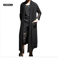 Wholesale Long Sweater Trench Coat - Wholesale- Men seven sleeve trench coat shawl hollow punk overcoat male fashion casual long sweater cardigan jacket stage show clothing