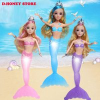 Wholesale Dolls For Girls Pvc - Fashion Princess Mermaid Doll With LED Light Classic 35cm 3D eyes Dolls Toy For Girl Birthday Xmas Gifts dhl shipping