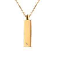 Wholesale Stainless Steel Rectangle Pendant - Cremation Jewelry mooth Gold Rectangle Crystal Urn Ashes Necklace Memorial Keepsake Pendant With Gift Bag and Funnel