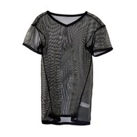 Wholesale Bar Grille - Home Bar Nightclub Sexy Hot Gay Undershirts Grille Clothing Breathable T Shirt Transparent Stage Body Show