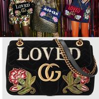 Wholesale Velvet Closure - Marmont Loved Women Crossbody Shoulder Bags Embroidered Velvet Small Messenger Bags Luxury Brand Flap Closure Chain Handbags Floral Wallets