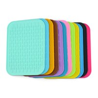 Wholesale Cushion Table Pads - Table Mat Colorful Rectangle Thicken Silicone Tableware Dish Pan Drying Heat Insulation Cushion Non Slip Pad Multi Color 2 57lm F R