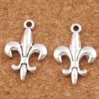 Wholesale Fleur Lis Silver Pendant - 300pcs lot Iris Fleur-de-lis Flower Charms Pendants 12.5x18.7mm Antique Silver Charms Jewelry DIY L387