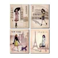 Wholesale paris painting canvas - 4 PCS Paris London Roma and New York Set Wall Art Picture Digital Art Print Canvas Picture for Living Room Wholesale
