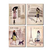 Wholesale paris canvas wall art - 4 PCS Paris London Roma and New York Set Wall Art Picture Digital Art Print Canvas Picture for Living Room Wholesale