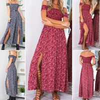 Wholesale Tube Dress One Piece - Summer Dresses For Women Strapless Top Sexy Printed One-Piece Dress Off Shoulder Split Long Tube Dress