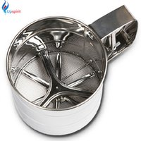 Wholesale Stainless Steel Flour Sieve - Wholesale- High Quality Stainless Steel Mesh Flour Sifter Mechanical Baking Icing Sugar Shaker Sieve Cup Shape Bakeware Baking Pastry Tools