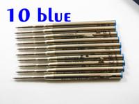 Wholesale good finance - 10PCS BlUE Ballpoint Pen Good Quality Ballpoint Pen Refill Stationery