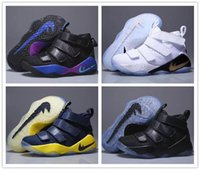 Wholesale Childrens Kids Shoes - 2017 Boys Girls Soldiers 11 Kids Basketball Shoes Childrens James 11s Sports Shoes Toddlers Birthday Gift LB 11 Retro 11 Sneakers Size 28-35