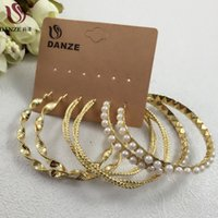 Wholesale Stacking Jewelry - Wholesale- DANZE 3 Pairs Women Stacking Big Circle Hoop Earrings Set Female Simulated Pearl Beaded Ear Buckle fashion Brincos Jewelry