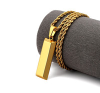 altın bükülmüş zincirler erkekler için toptan satış-Erkekler Küp Bar Külçe Kolye Kolye Altın Hip Hop Dans Charm Franco Twisted Zincir Hip Hop Altın Takı