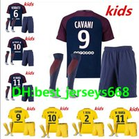 Wholesale Paris Kids - kids Kits +socks Paris child Football Shirt survetement verratti Dani Alves cavani di maria maillot de foot 17 18 boys Lucas Draxler NEYMAR