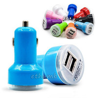 Wholesale colorful car dual charger online - For Iphone Travel Adapter Car Charger dual Ports Colorful Micro USB Car Plug USB Adapter For Iphone Iphone Plus