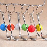 anel de chaves de bolas venda por atacado-Anel chave do golfe Clube de golfe do metal da classe superior com o presente do esporte da corrente chave da bola para o anel chave da lembrança