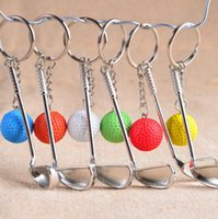 golf key ring top grade metal golf club with ball key chain sport gift for souvenir key ring