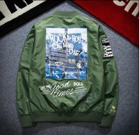 Wholesale Rolled Collars - high version yeezus air force flight MA1 Baseball Jacket Wear Rock and roll cartoon sticker lovers clothing kanye west jacket prin
