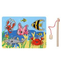 bebek balık oyunları toptan satış-Marka Yeni Bebek Çocuk Ahşap Manyetik Balıkçılık Oyunu 3D Bilmecenin Oyuncak Ilginç Bebek Çocuk Eğitim Bulmaca Oyuncak Hediye